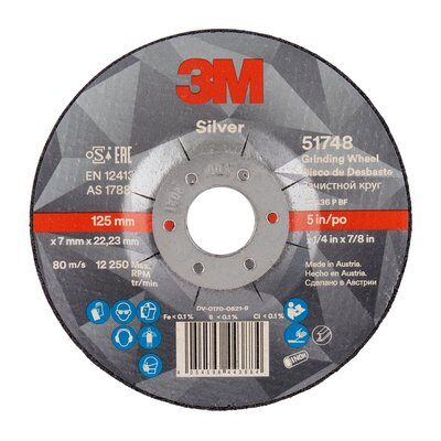 3M Silver Depressed Centre Grinding Wheel, 125 x 7 x 22.23mm