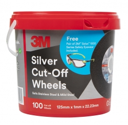 3M Silver Cut-off Wheel 125 x 1 x 22.3mm Bucket, 100 Wheels Bonus 3m Solus 1000