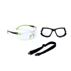 3M Solus Safety Glasses Grn/Blk, Clear Scotchguard, Antifog Lens